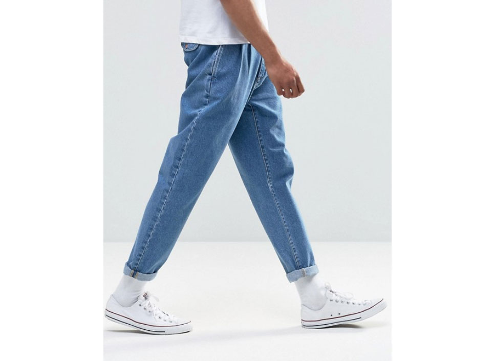 Asos Design Double Pleat Straight Leg Jean