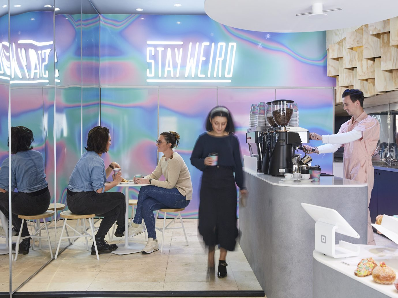 interior of shop with holographic walls at Weirdoughs, Melbourne, AUS