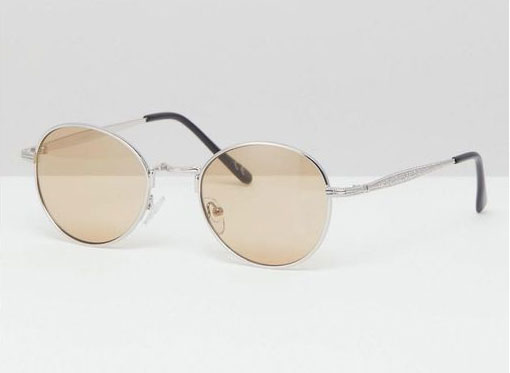 ASOS DESIGN round sunglasses in silver metal with amber lens
