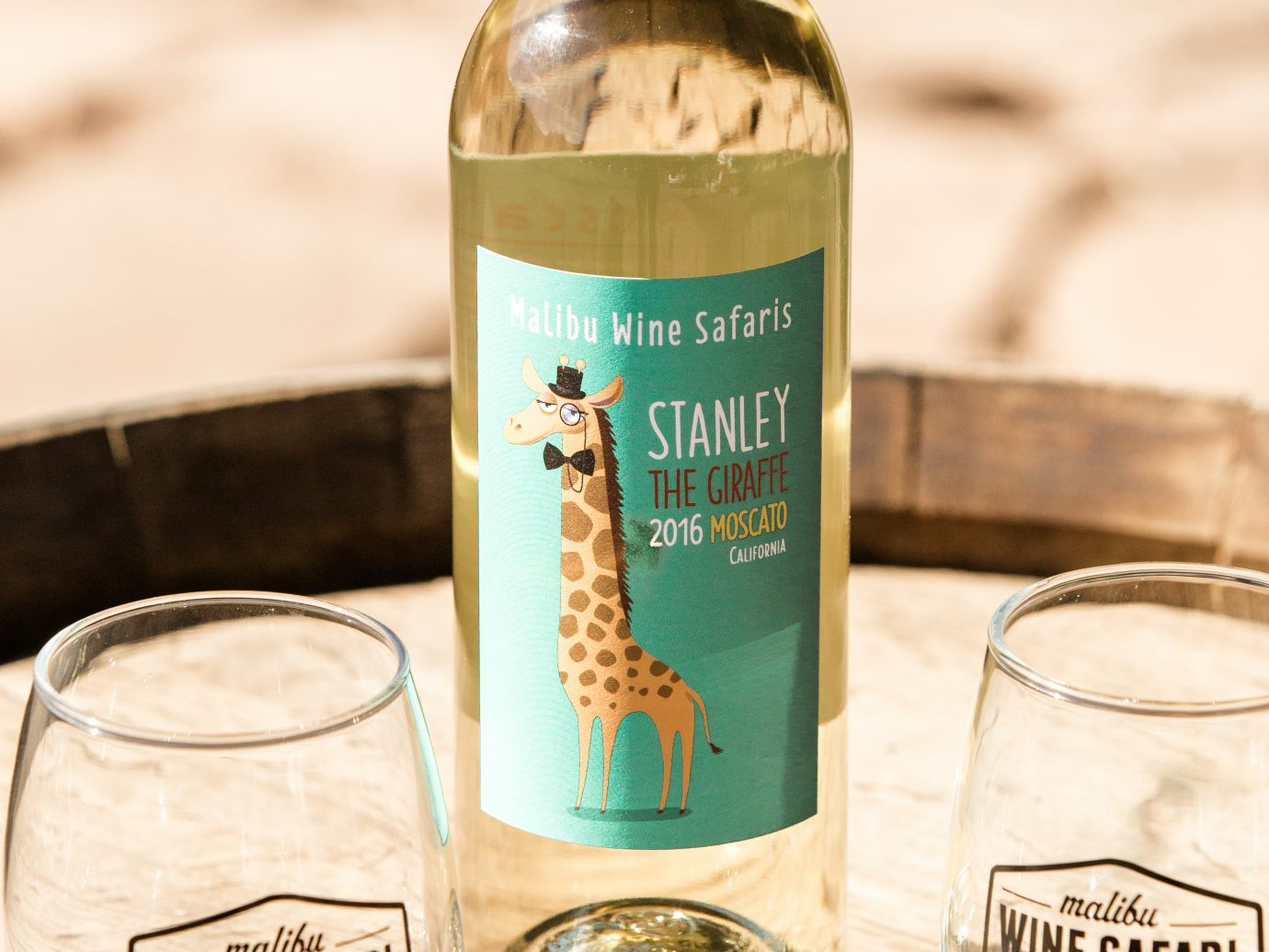 Giraffe labeled wine