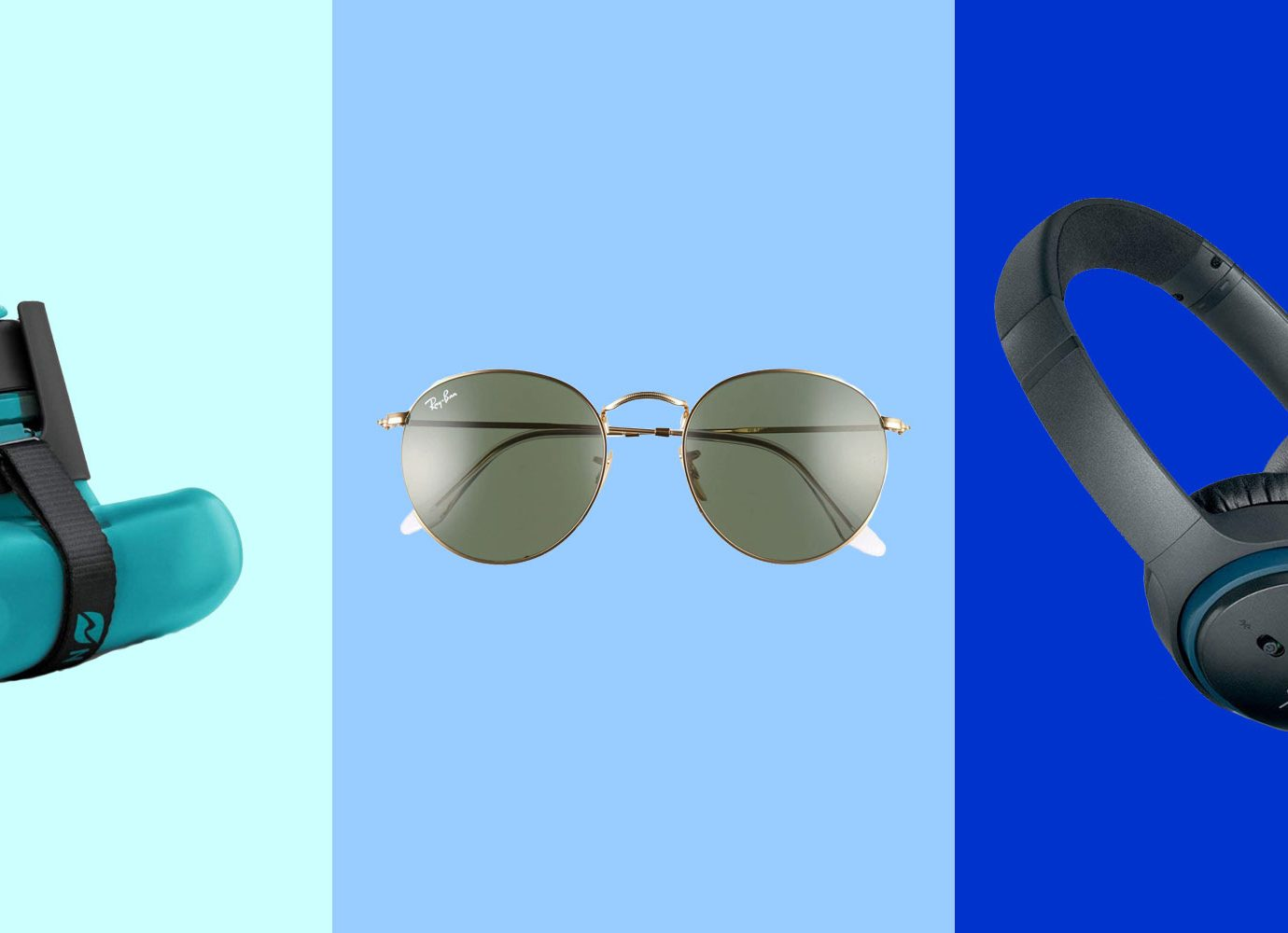 Collage of water bottle, sunglasses, headphones, 18 Essentials You Should NEVER Forget to Pack