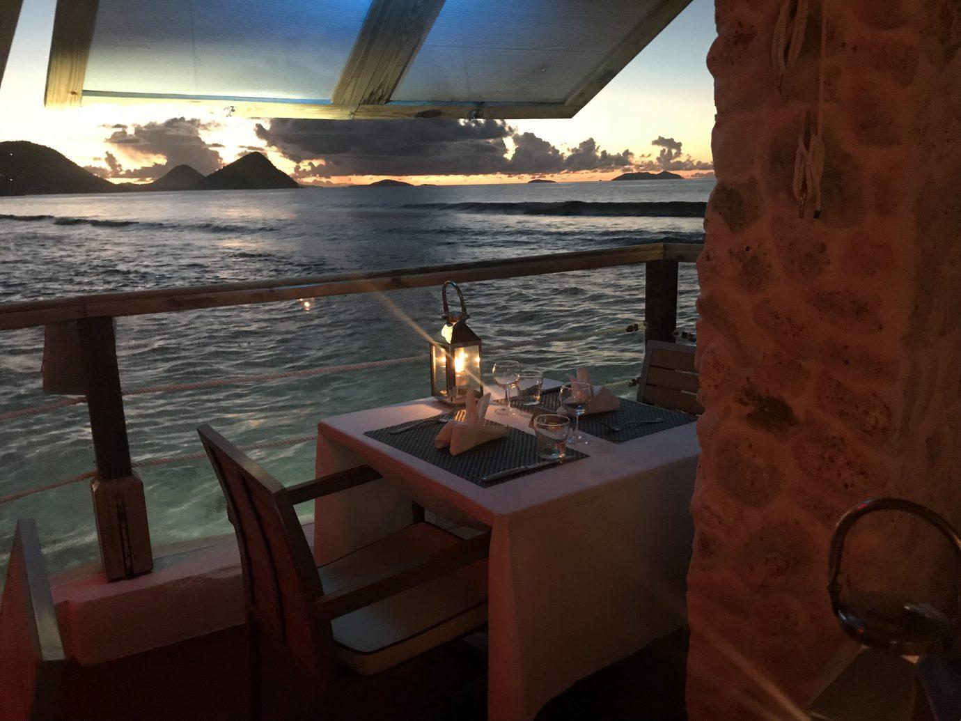 dining at dusk