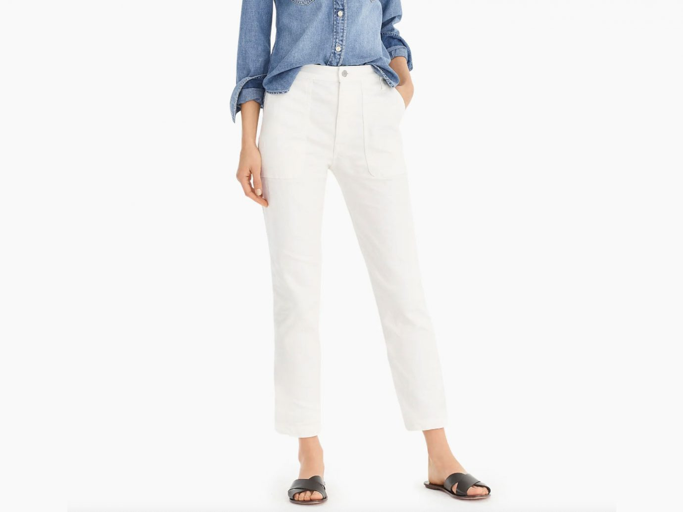 J.Crew Straight-Leg Crop Jean in Garment-Dyed Denim