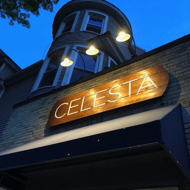exterior of Celesta at night