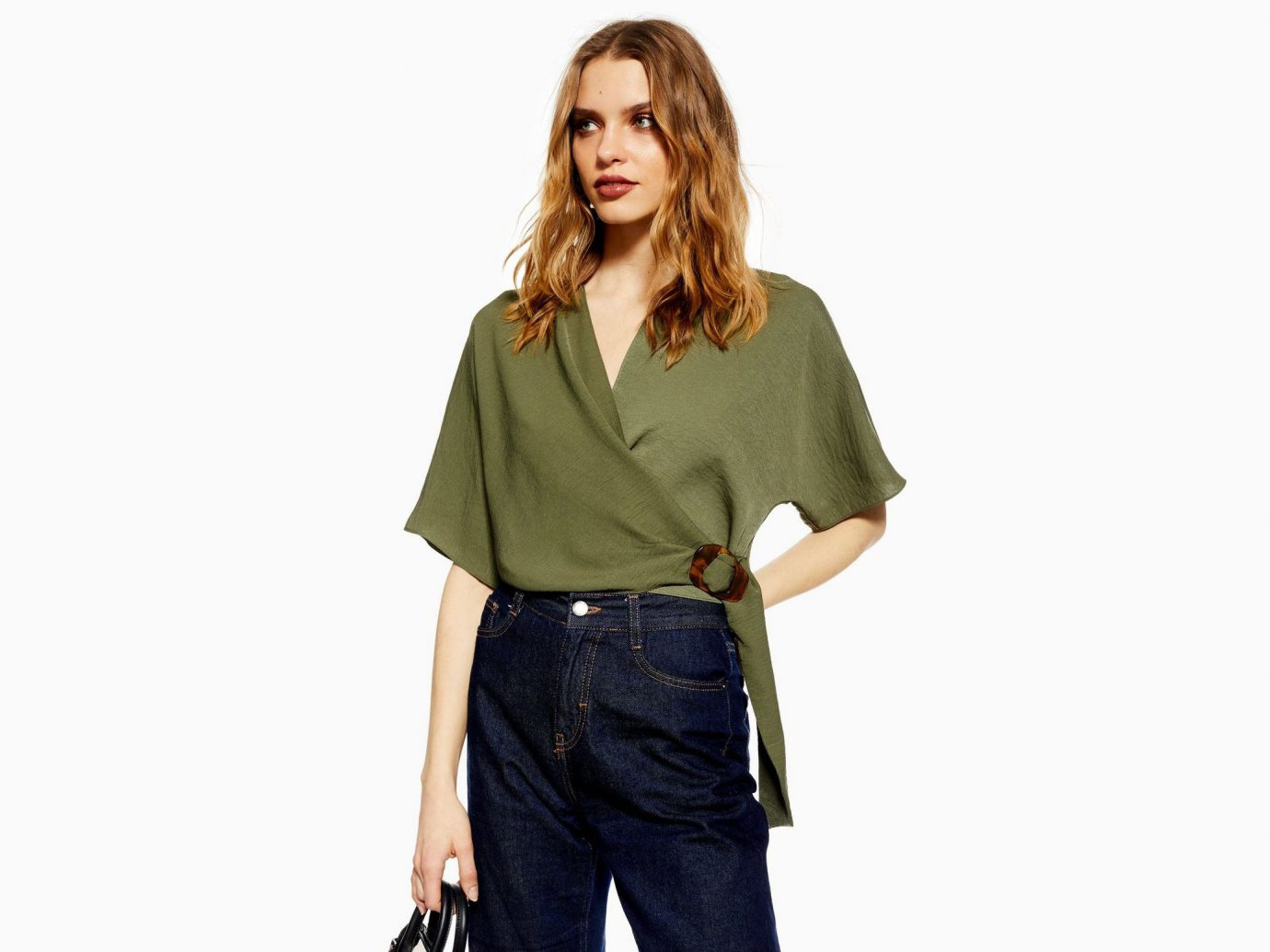 Topshop Buckle Wrap Crop Shirt