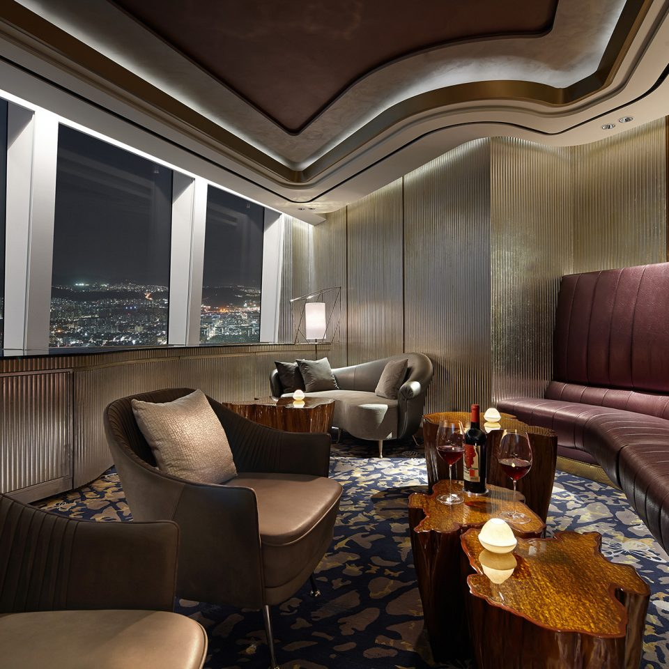 dining lounge area at night