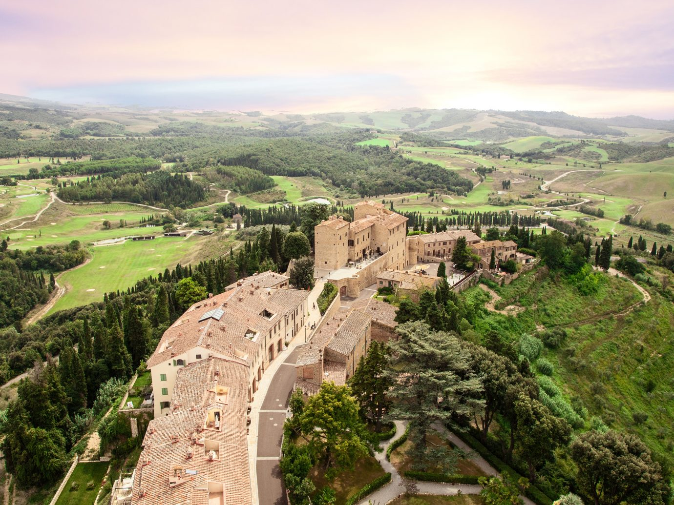 Aerial view of Hotel Il Castelfalfi in Tuscany