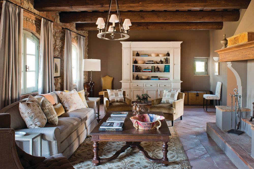 Living room of Castello di Casole