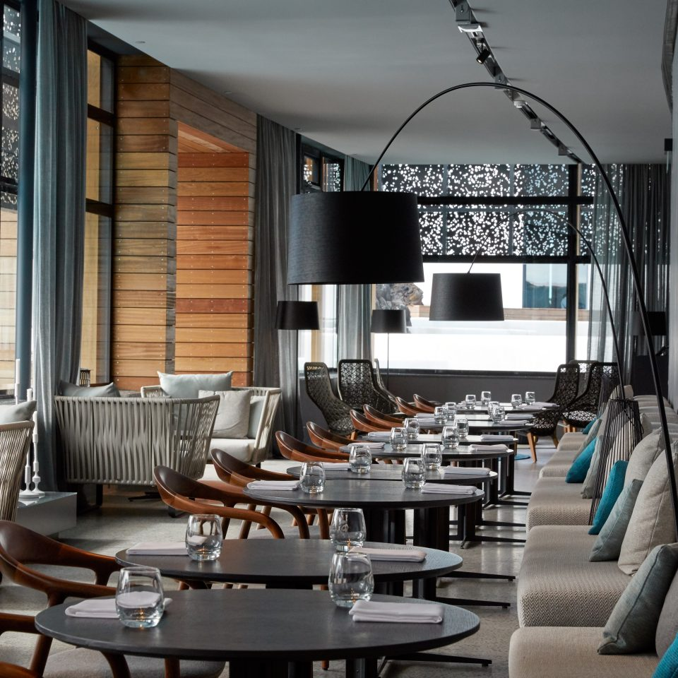 restaurant interior with round tables at The Retreat at Blue Lagoon Iceland