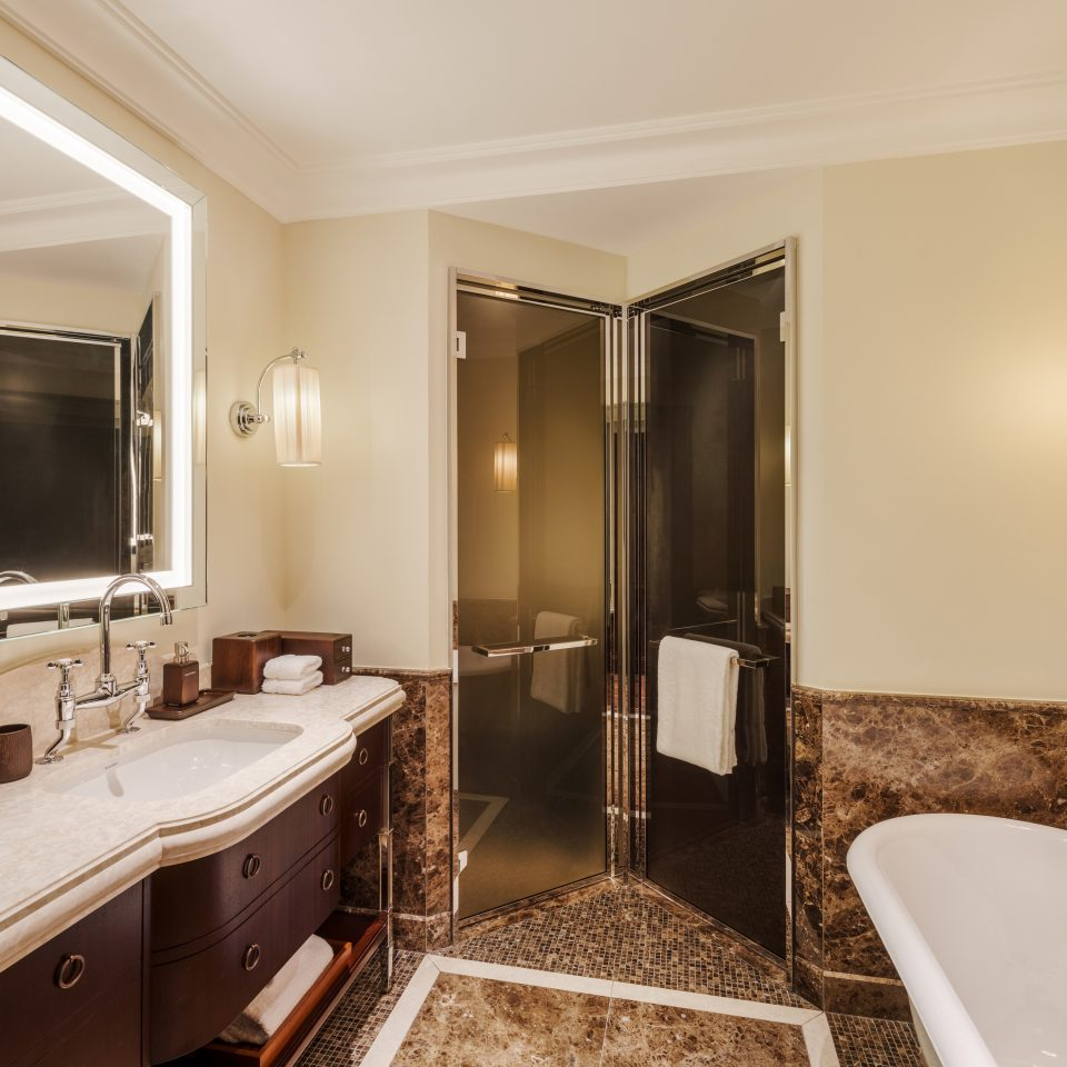 shower, sink, and tub view in bathroom