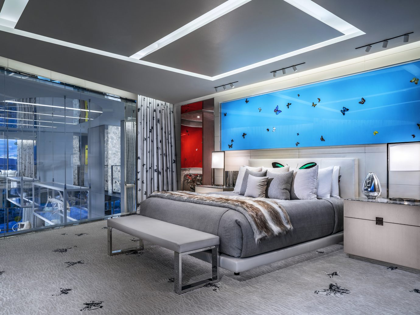 bedroom at the Damien Hirst designed Empathy Suite, Palms Casino Resort Las Vegas
