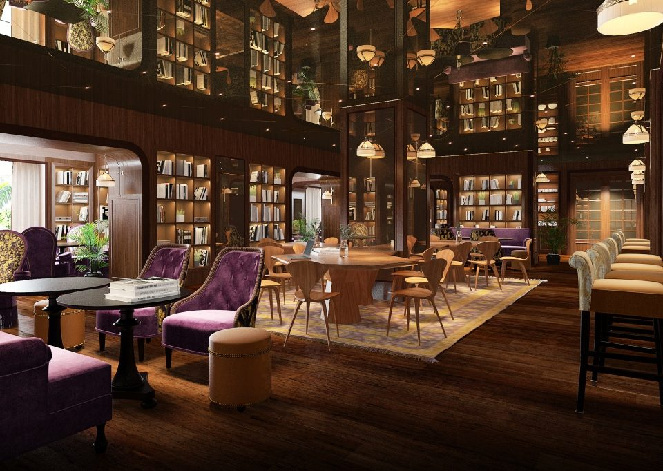 large, dark interior social library