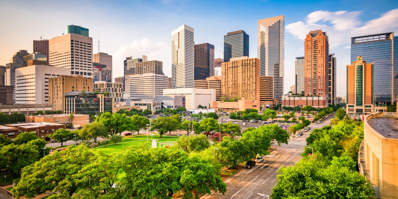 Houston, Texas, USA downtown city skyline over Root Square.