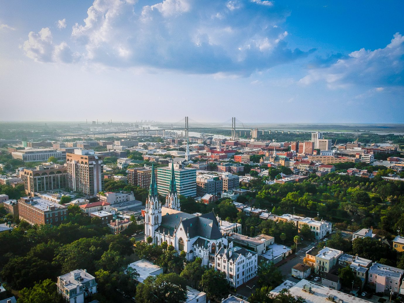 Series of shots taken high above Savannah, GA