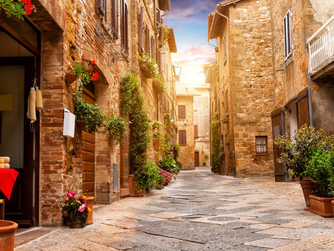 Colorful street in Pienza Italy