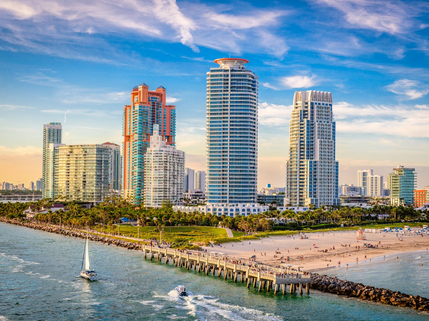 South Beach, Miami, Florida, USA over South Pointe Park.