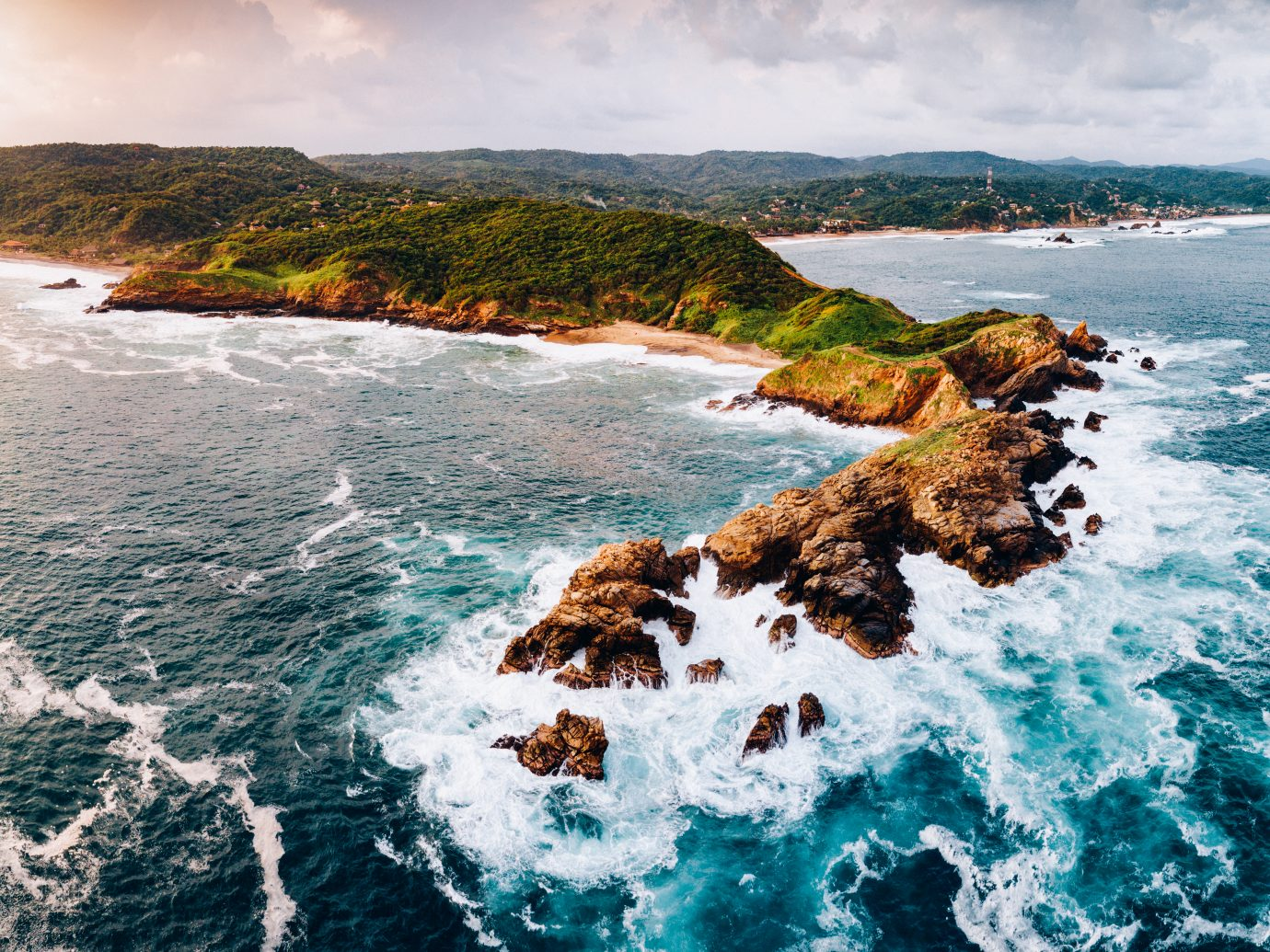 Panoramic Aerial view of Punta Cometa in Oaxaca Coast, Mexico