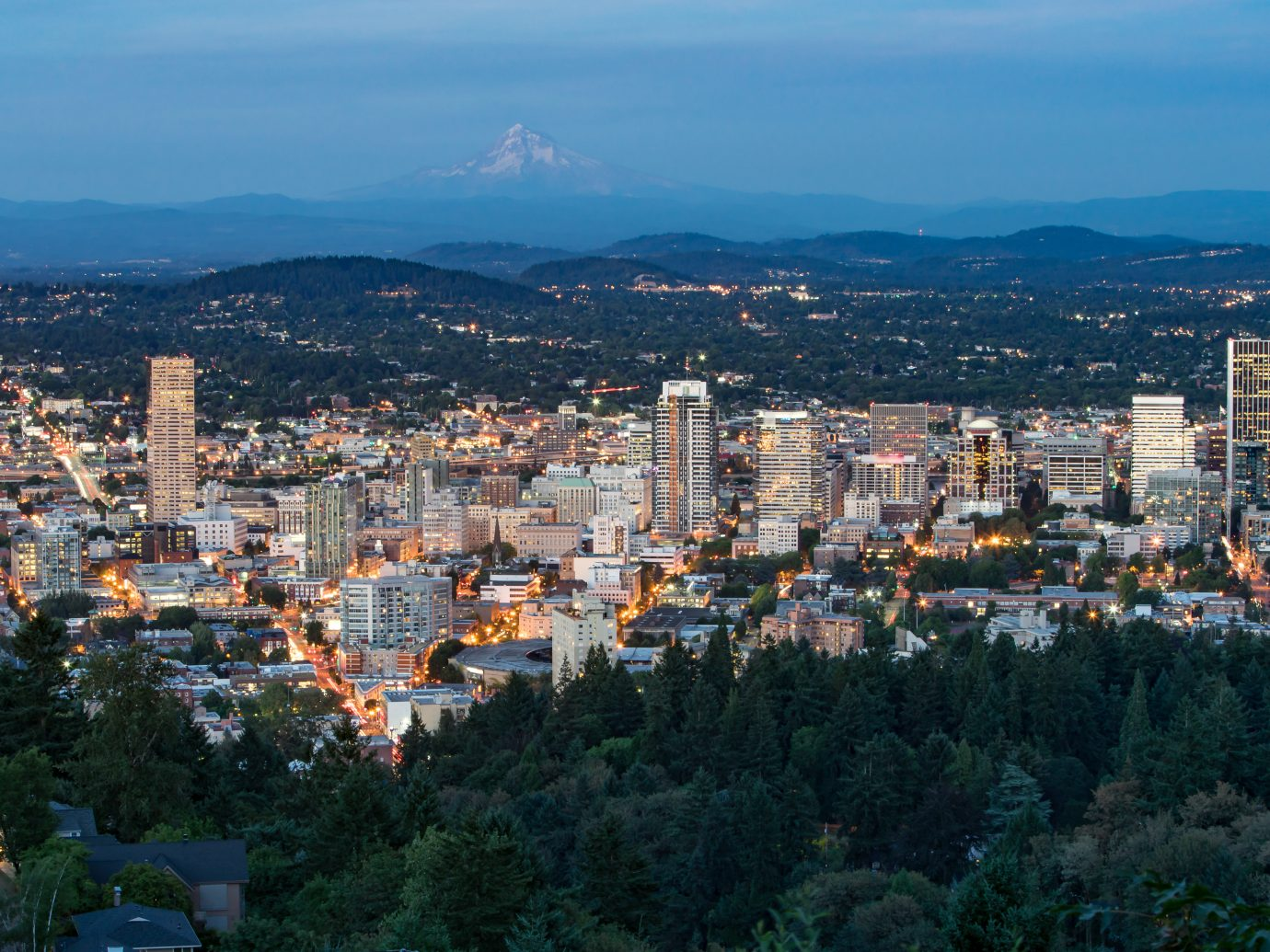 Night City Skyline of Portland, Oregon