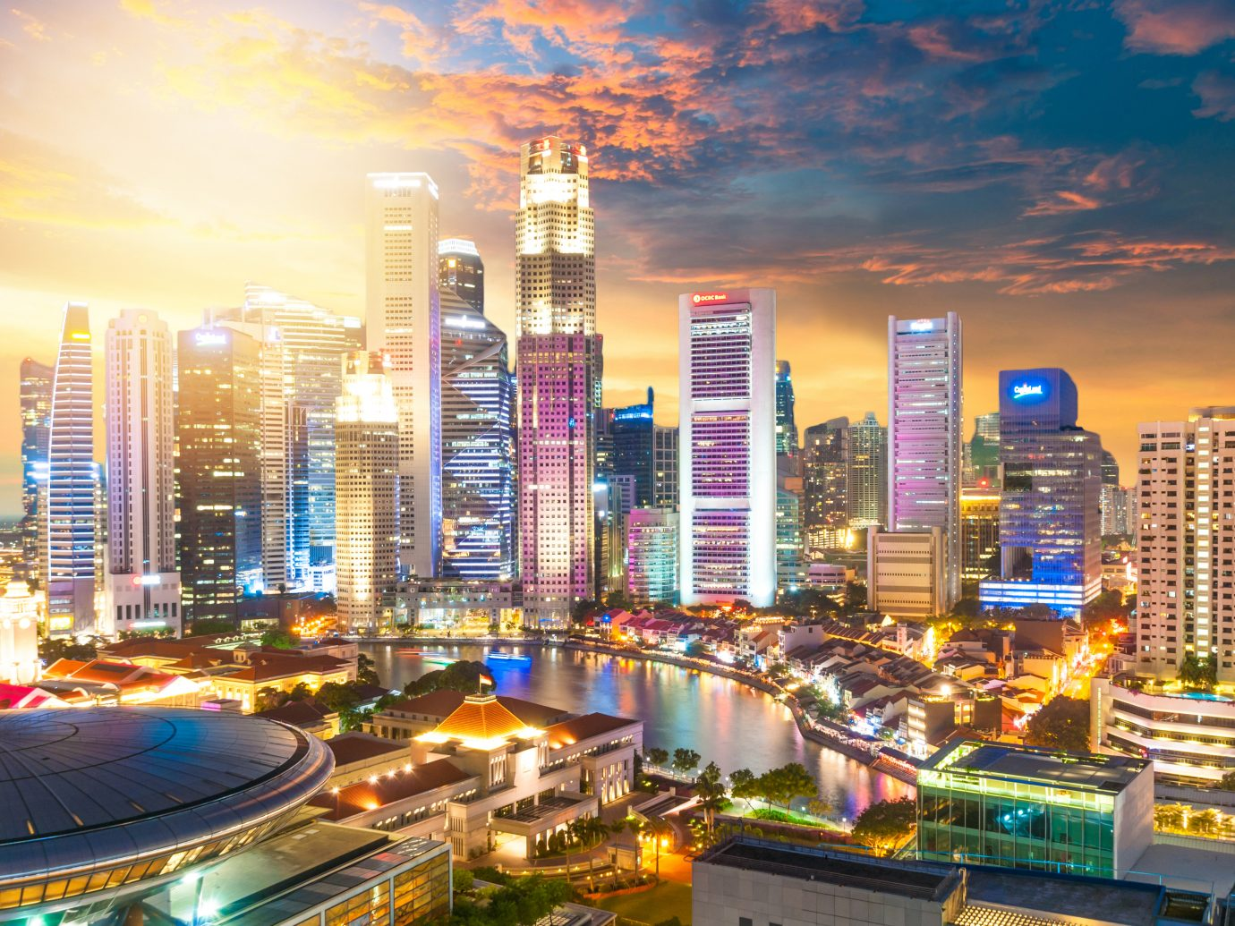 Singapore, Singapore - August 26, 2017 Panoramic view of the Singapore Skyline and Marina Bay, the marina is the centre of the economy in singapore, there are here all the building of all the majors bank and insurance.