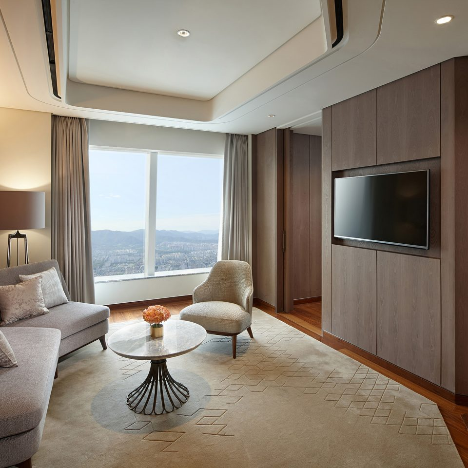 seating area and TV in premier suite