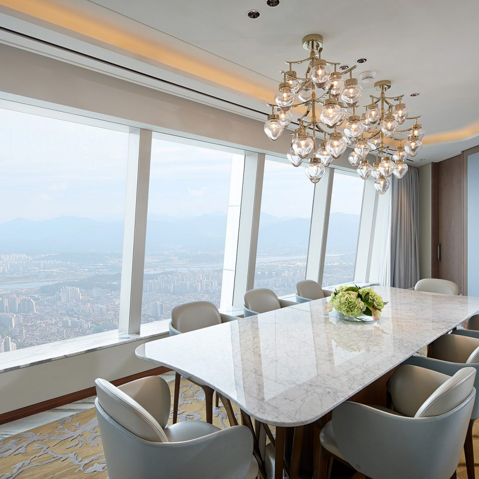 large dining table with view of city