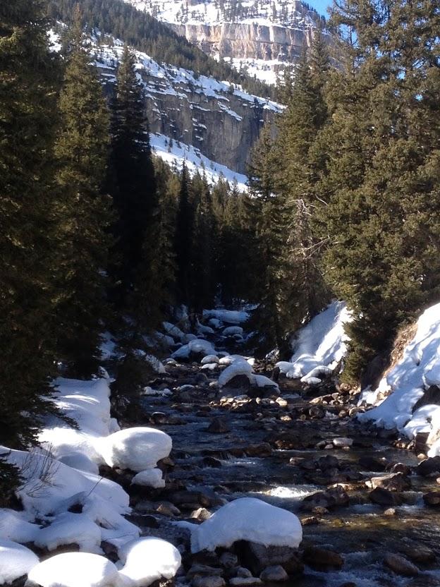 hot springs river in snow