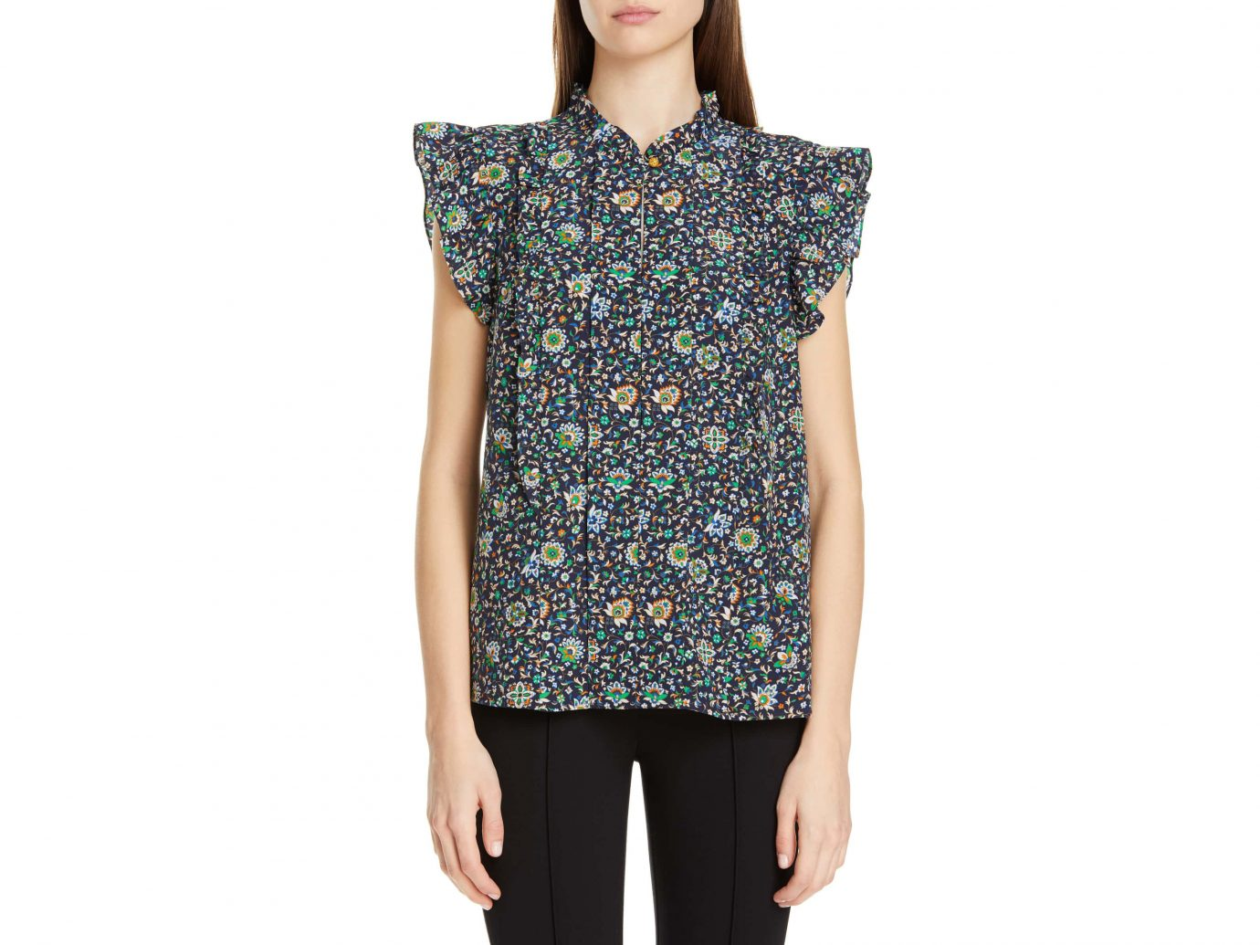 Tory Burch Ruffle Sleeve Silk Top