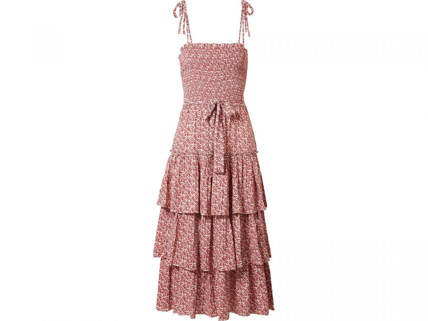 Tory Burch Ruffled smocked floral-print midi dress