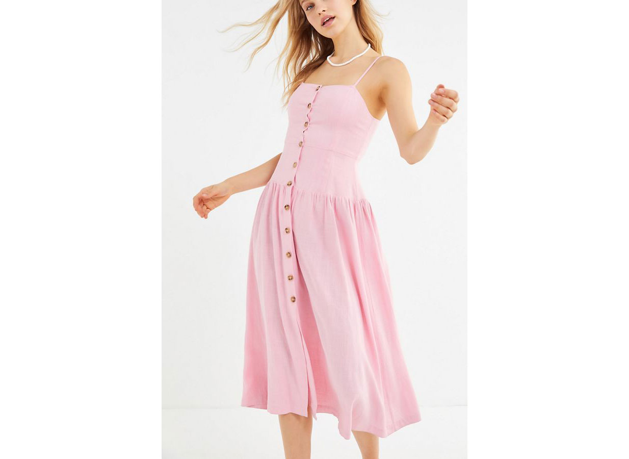 Urban Outfitters Linen Button-Down Drop Waist Midi Dress