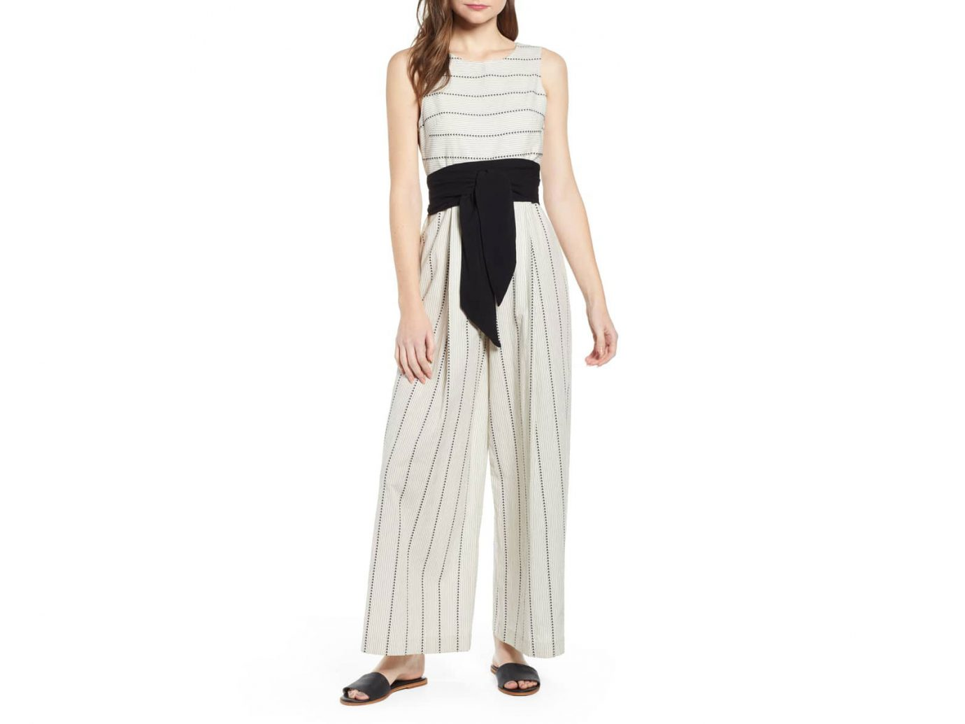 Damsel x THE ODELLS Stripe Wide Leg Cotton Jumpsuit