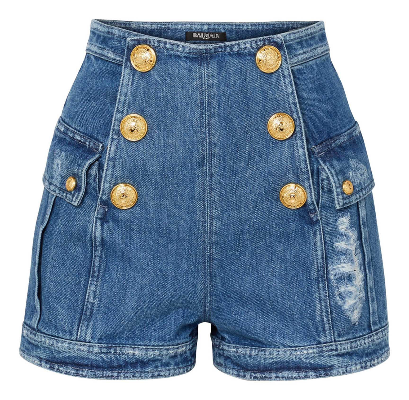 Button-Embellished Denim Shorts