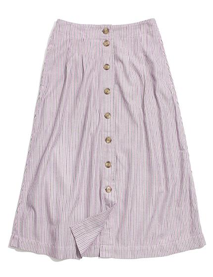Stripe Button Midi Skirt