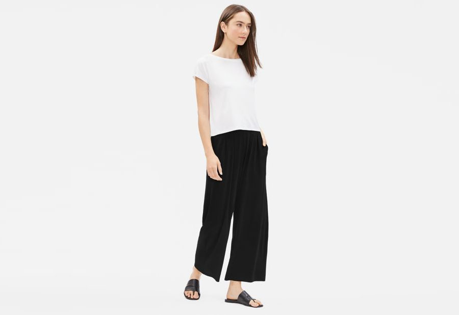 Eileen-Fisher STRETCH SILK JERSEY WIDE ANKLE PANT