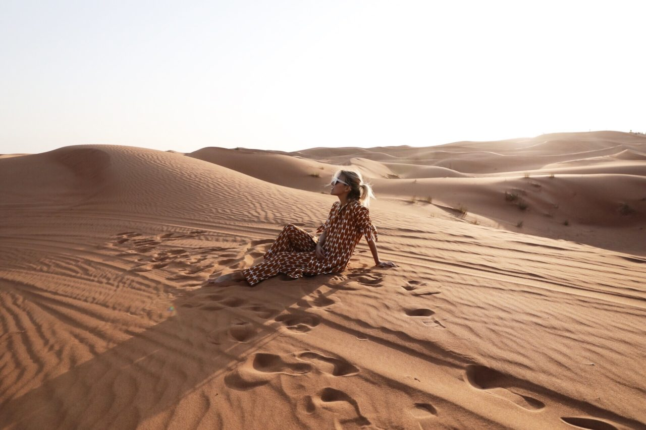 Jacey Duprey in the sahara desert morocco