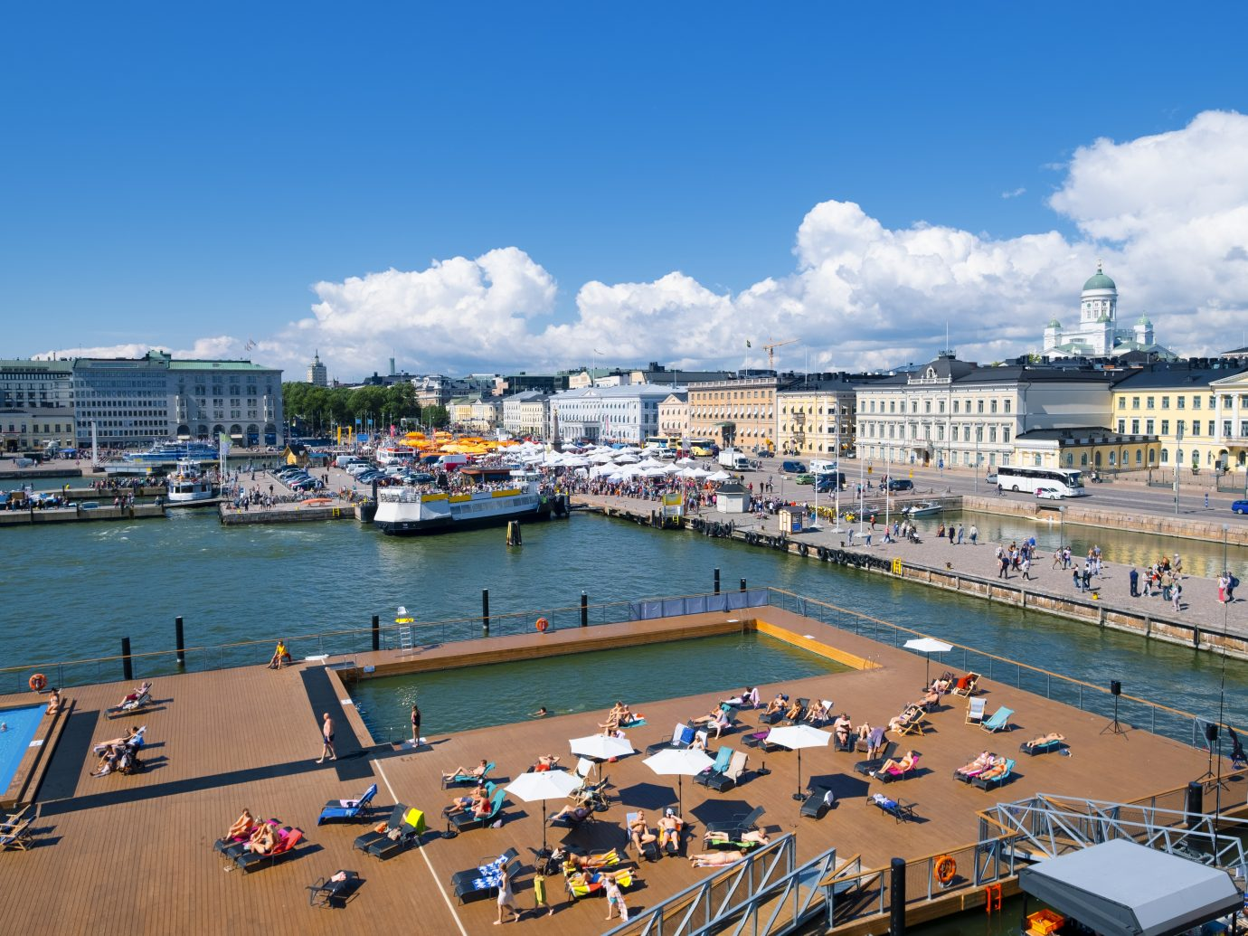 Helsinki harbor with city skyline