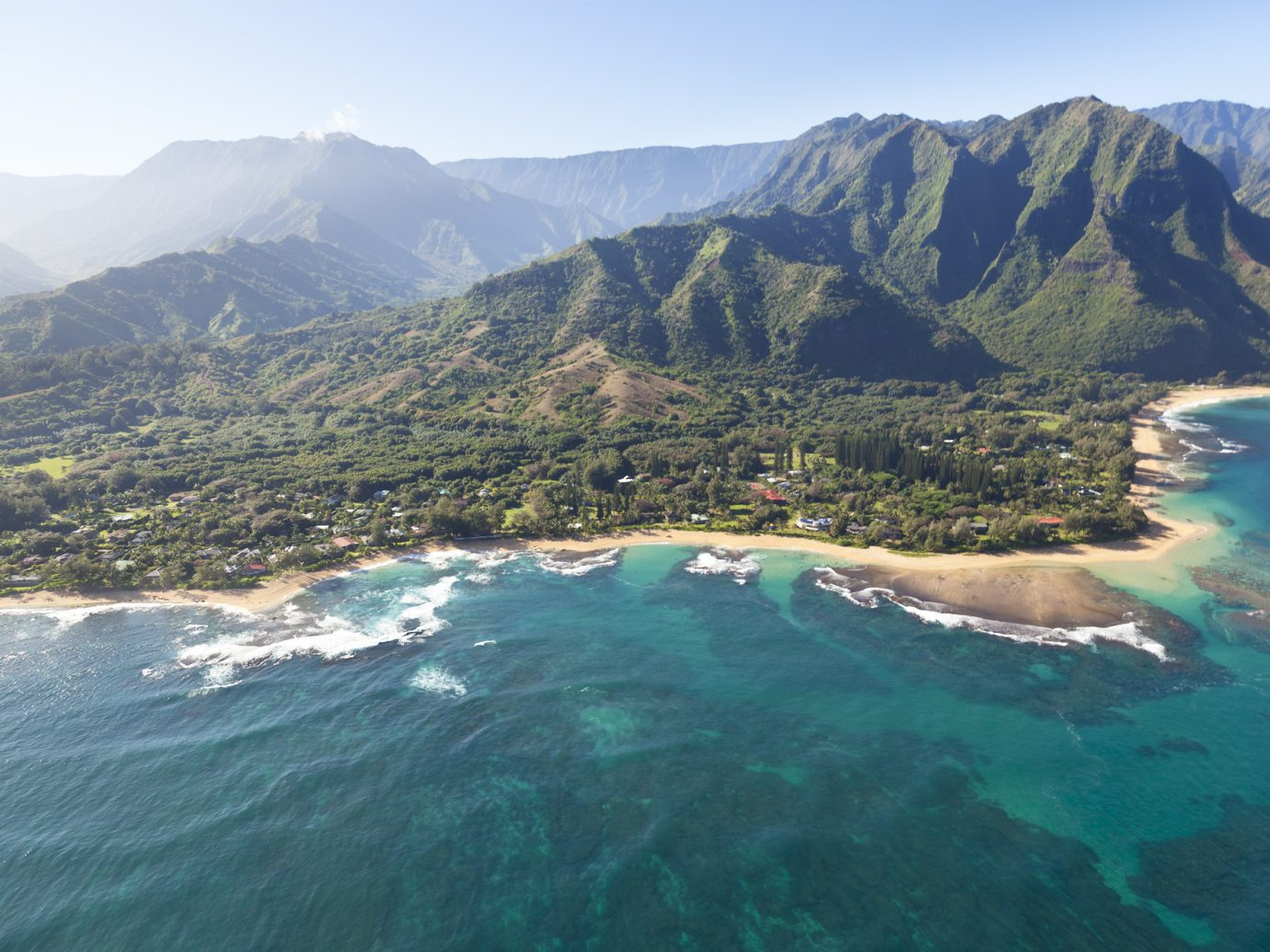 View of Tunnels Beach and Haena Beach in Kauai, Hawaii