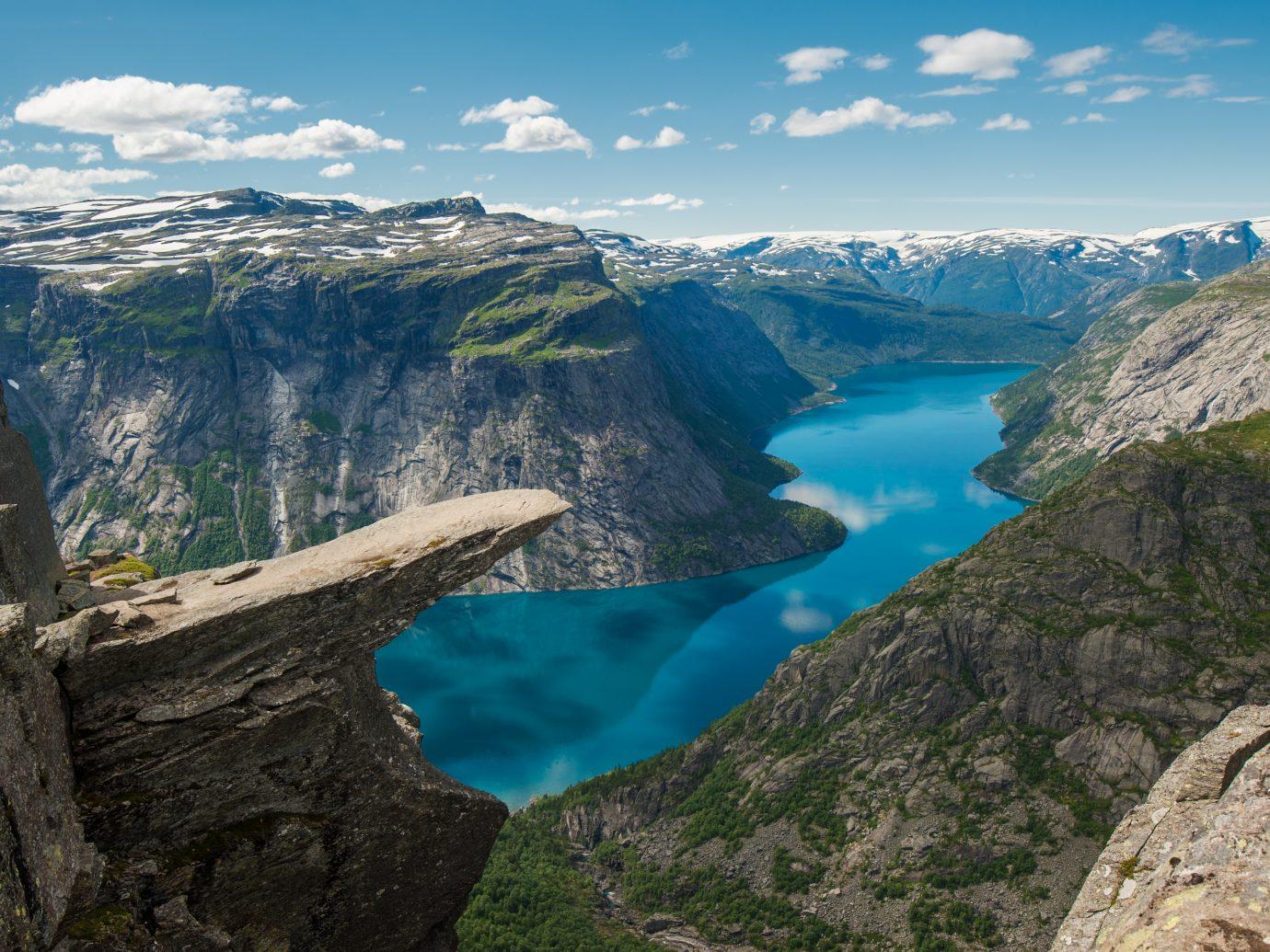 """Trolltunga, Troll's tongue rock above lake Ringedalsvatnet, Norway"""