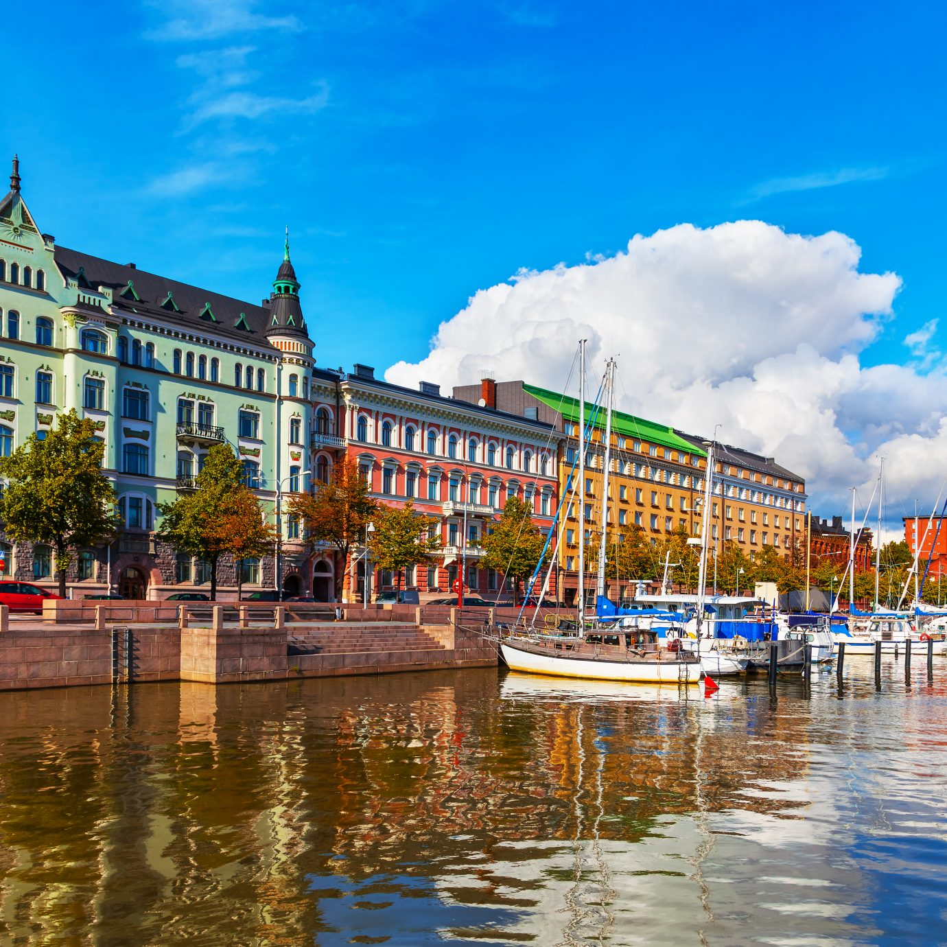 view of the Old Port pier in Helsinki, Finland