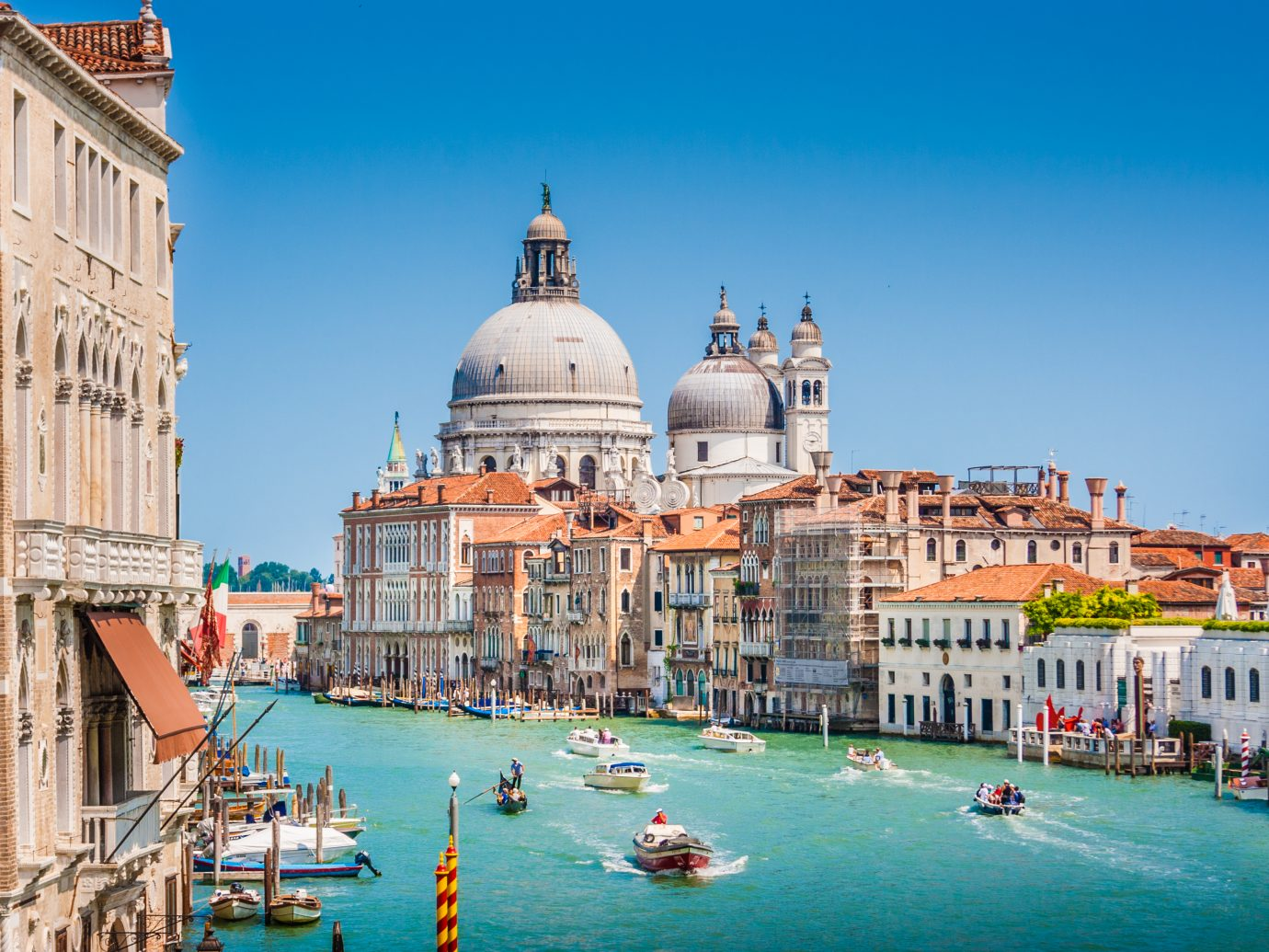 Beautiful view of famous Canal Grande with Basilica di Santa Maria della Salute, Venice, Italy.