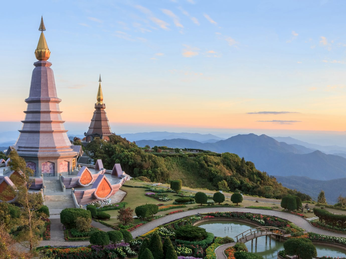Beautiful sunset at two pagoda Doi Inthanon National Park, Chiang mai, Thailand.