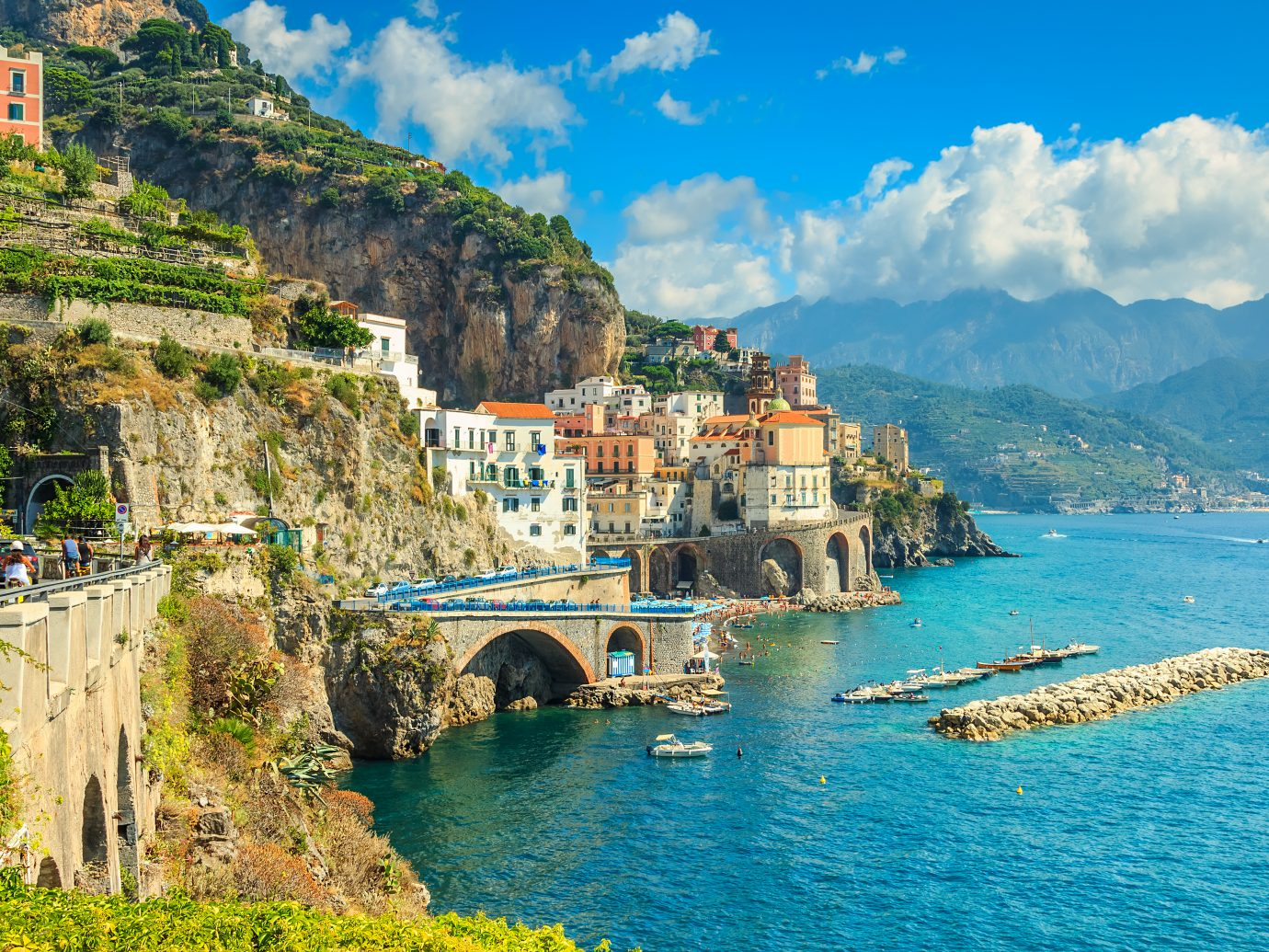 Panoramic view of Amalfi and harbor,Italy,Europe