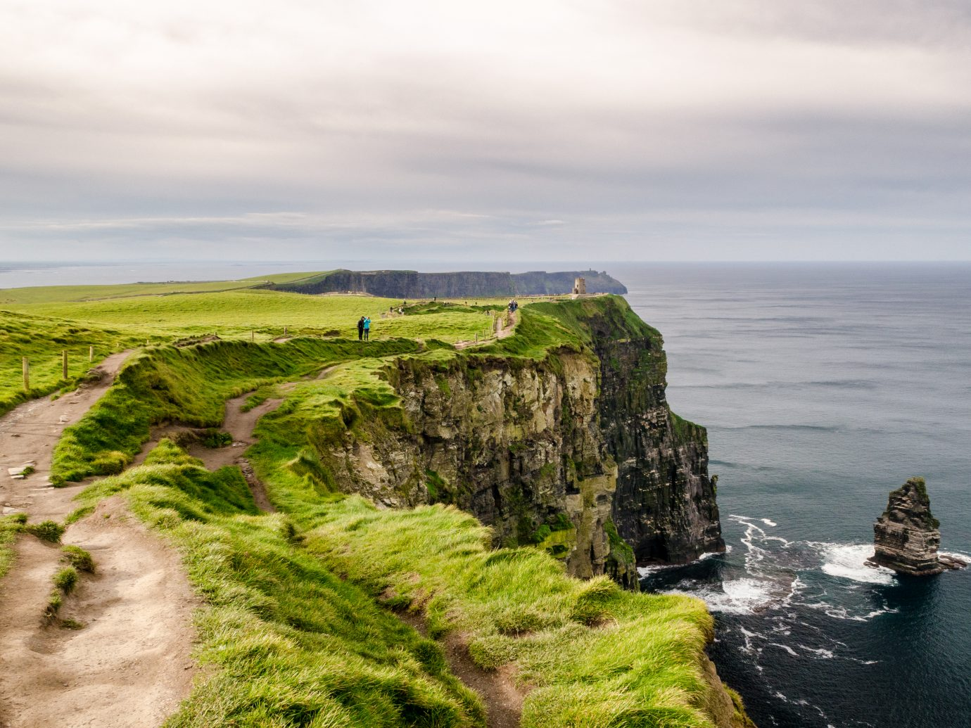 People walking along the edge of Ireland's Cliffs of Moher