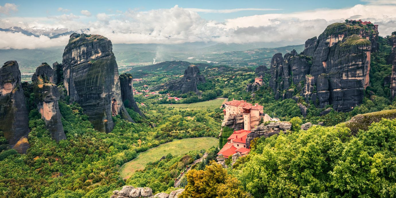 Misty spring scene in Meteora, UNESCO World Heritage site.