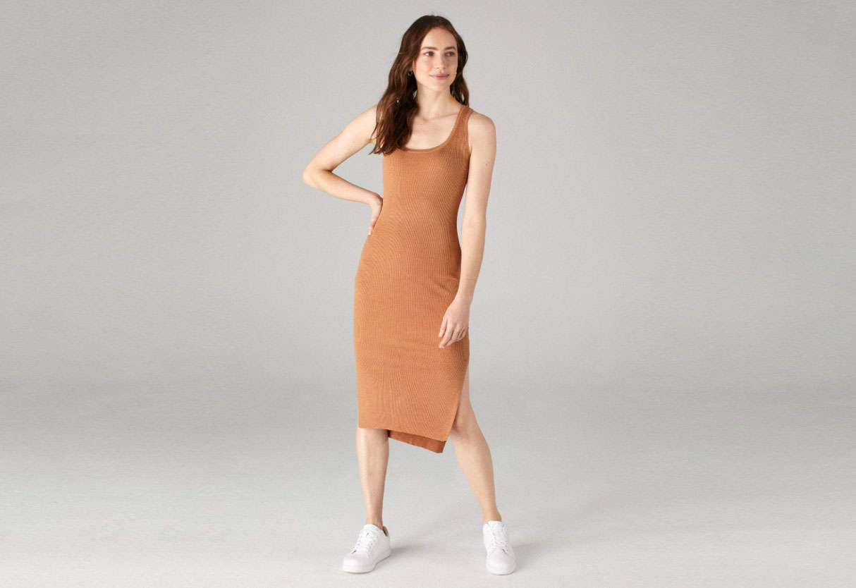 Naadam Tank Dress with Side Slits Dark Ginger