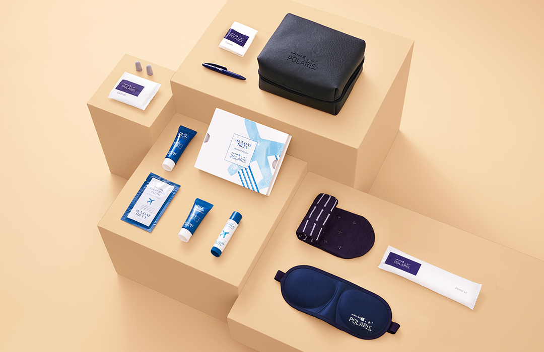 Sunday Riley x United Airlines polaris amenity kits