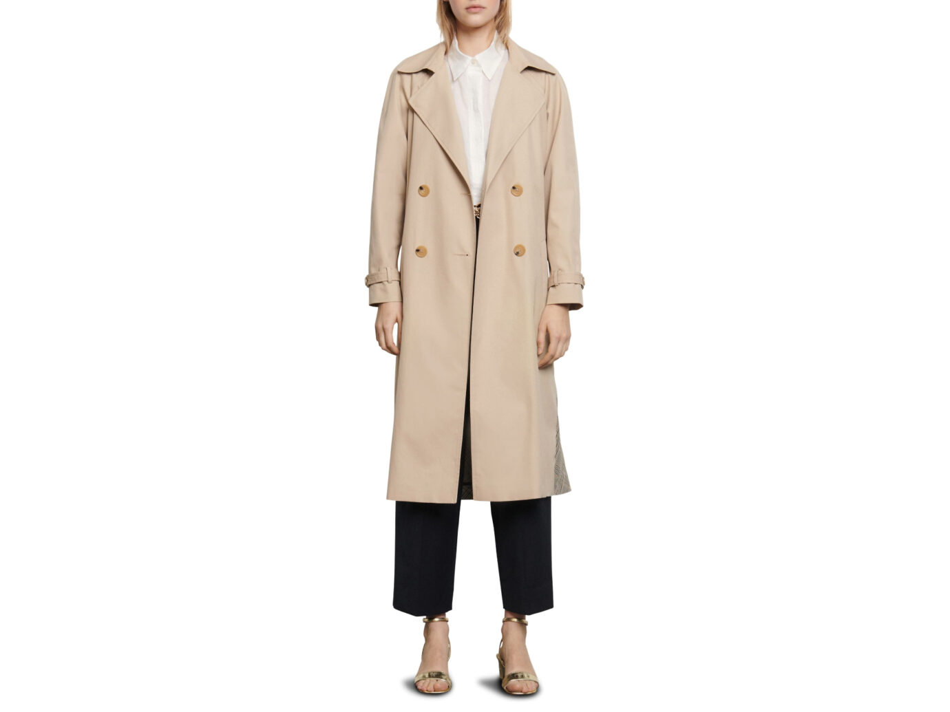 Sandro Victory Plaid Trench Coat