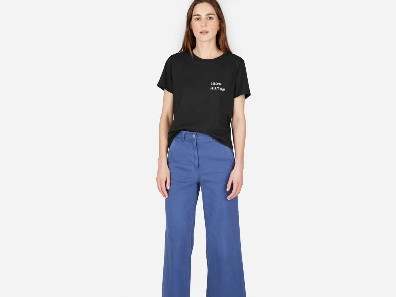 Best tee that gives back: Everlane 100% Human Woman Box-Cut Tee