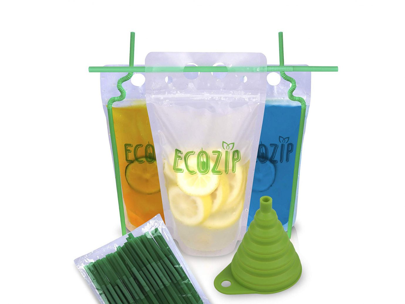 Eco 50pcs Ziplock Drink Pouch set with straws