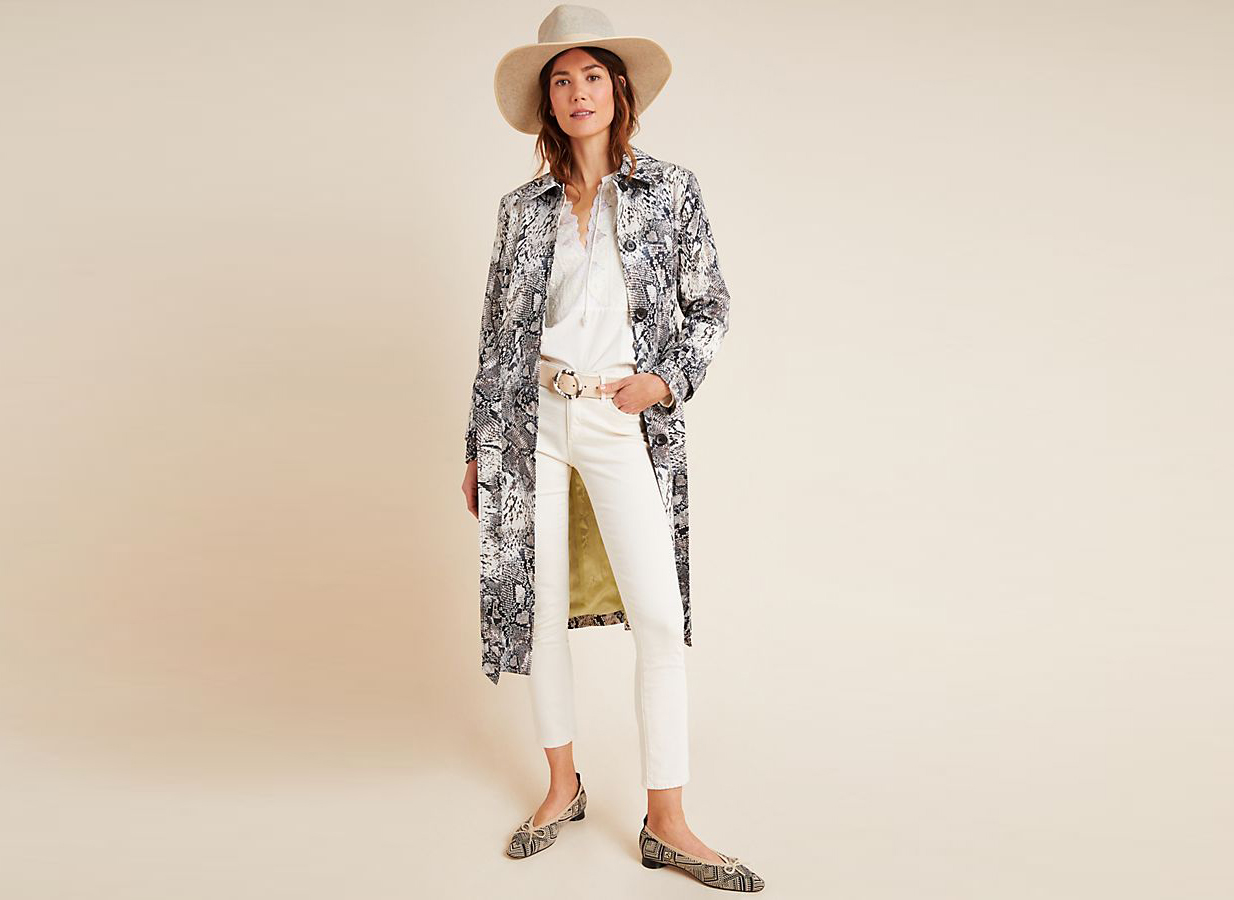 Helene Berman Snake-Printed Trench Coat