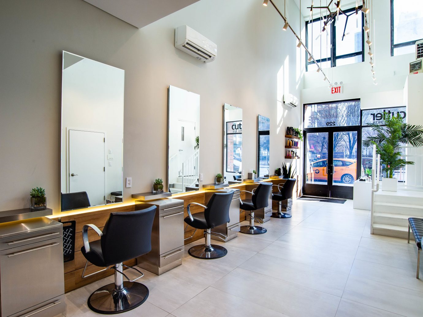 Interior of Cutler salon NYC